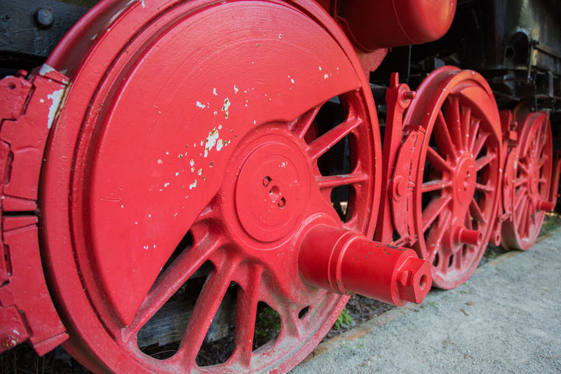 Wheel of Old Steam Locomotive Black Day Engine Large Large Machinery Loco Locomotive Machine Machinery Close Up Metal Metal Wheel Mode Of Transport No People Old Train Outdoors Red Steam Steam Locomotive Steam Train Steel Train Train - Vehicle Transportation Transportation Wheel