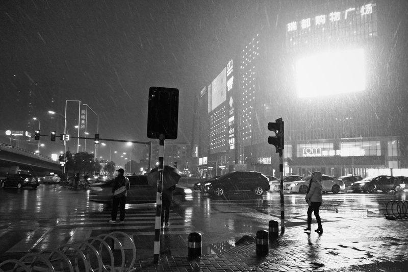 Taking Photos City Life Night View Night Life Night City Black & White Rainy Day Snow Day