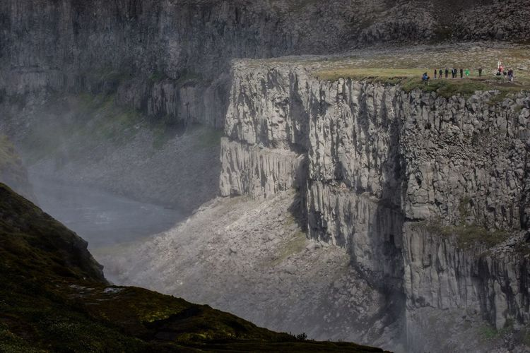 High angle view of cliff at dettifoss