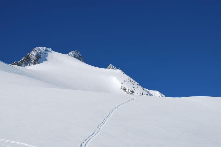 Single ski trail up towards gabler, reichenspitze, austrian alps
