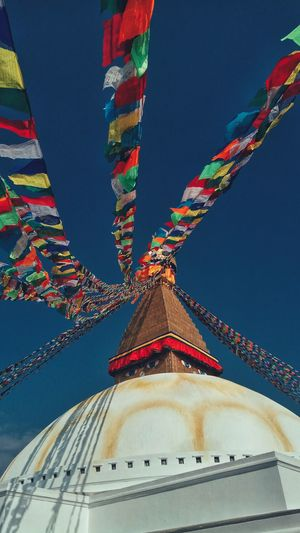 Boudhanath Stupa Built Structure Architecture Deep Blue Sky Prayer Flag Travel Destinations World Heritage Site By UNESCO PhonePhotography EyeEm Selects EyeEmNewHere