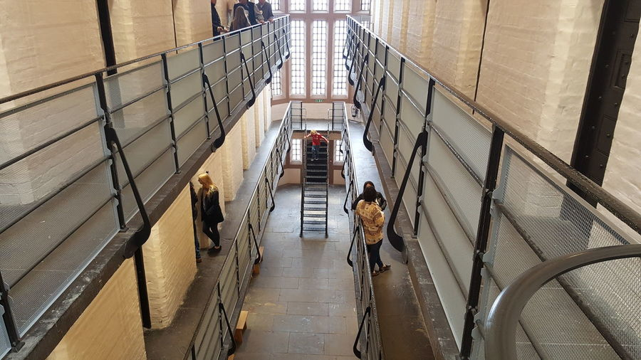 High angle view of people in prison