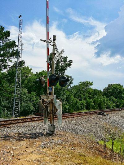 railroad crossing Trees Cloudy Sky Day Railroad Track Railroad Crossing Railway Track Sign Crossing Rural Scene Sky Cloud - Sky