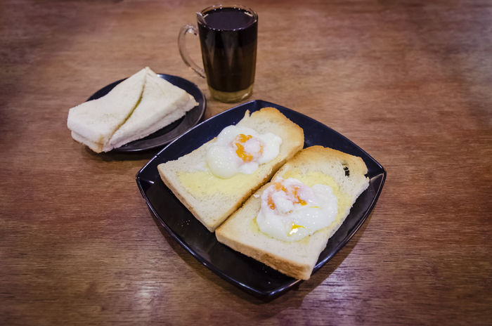 Asian Style Breakfast Close Up Coffee Delicious Egg Yolk Food Food And Drink Half Boiled Eggs Half Cooked Healthy Eating Malaysian Style Ready-to-eat Still Life Toasted Bread