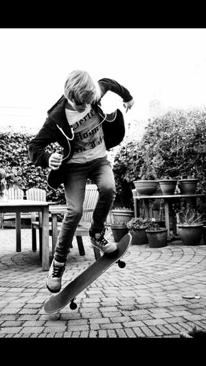 Little brother! Skateboarding Brother Blak And White Jump