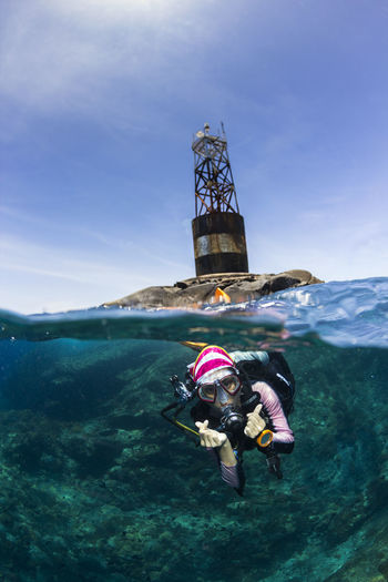 Young Woman Scuba Diving In Sea