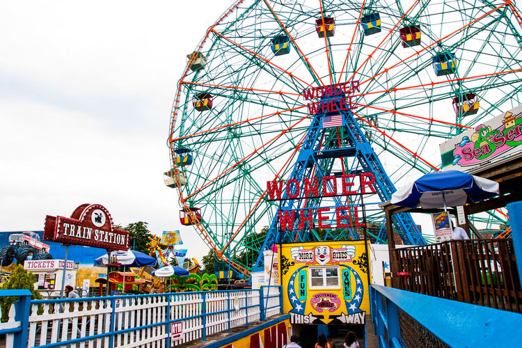 Arts Culture And Entertainment Coney Island Coney Island / Brooklyn NY Low Angle View Metal Multi Colored Wonder Wheel