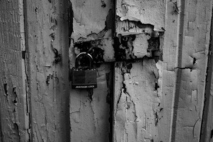 Abandoned Architecture Blackandwhite Photography Built Structure Close-up Day Locked Nikon D750 No People Outdoors Padlock Peeling Paint Photographyisthemuse Wooden Door