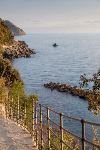 Framura Sea Water Beauty In Nature Tranquil Scene Sky Scenics - Nature Horizon Over Water Tranquility Railing Horizon Nature Idyllic Rock - Object No People Non-urban Scene Rock Land Outdoors Italy Photo Landscape Mediterranean  Liguria Framura
