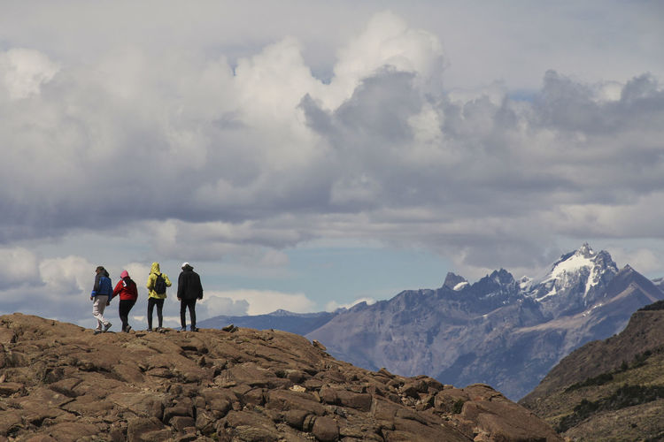 Mountain Leisure Activity Cloud - Sky Rear View Sky Scenics - Nature Beauty In Nature Real People Hiking Lifestyles Nature Adventure Mountain Range People Full Length Winter Men Tranquil Scene Day Outdoors Trekking Argentina