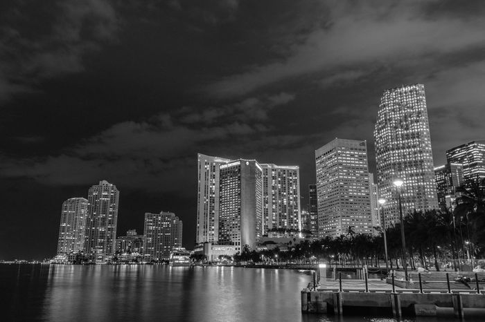 Bayside City Architecture Skyscraper Modern Travel Destinations Building Exterior Night Urban Skyline Office Building Exterior Travel Built Structure Business Finance And Industry Cityscape Sky Outdoors Bayside Lights Black & White