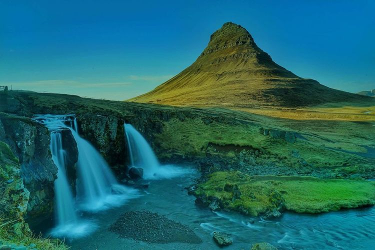 Iceland Iceland Water Waterfall Motion Sky Landscape Natural Landmark Flowing Water Rock Formation Stream - Flowing Water