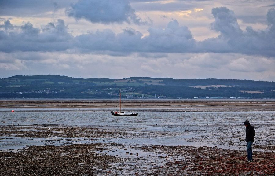 Beauty In Nature Cloud - Sky Cloudscape Mountain Range Mudflat Mudflats Nautical Vessel Sailboat Sailing Scenics Sea Tranquil Scene Tranquility Water