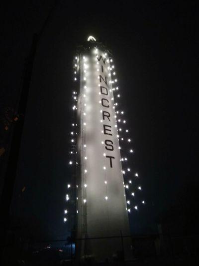Tower Lights Night Watertower Christmas Night Celebration Illuminated No People Low Angle View Outdoors Sky