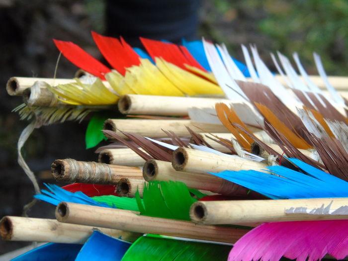 Close-up of multi colored arrows
