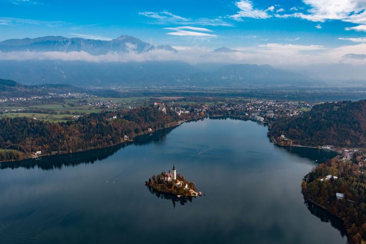 Aerial Shot Aerial View Autumn Autumn Colors Beauty In Nature Bled Lake Lake Bled Landscape Mountain Nature No People Outdoors Reflection Scenics Slovenia Tourism Travel Travel Destinations Vacations Water