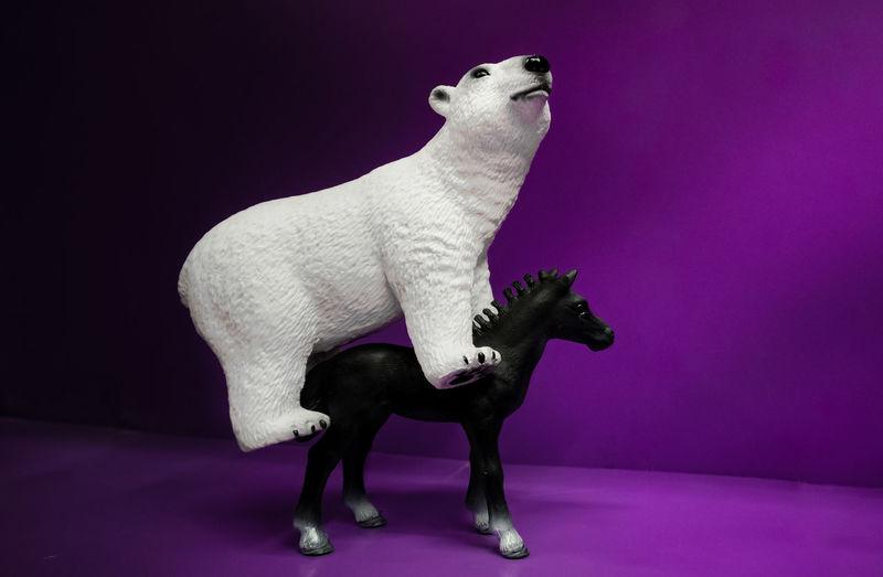 Polar Bear And Horse Toys On Purple Table