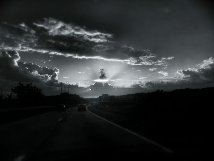 Blackandwhite Morning Sky I Shouldn't Take That Pic While Driving Creative Light And Shadow