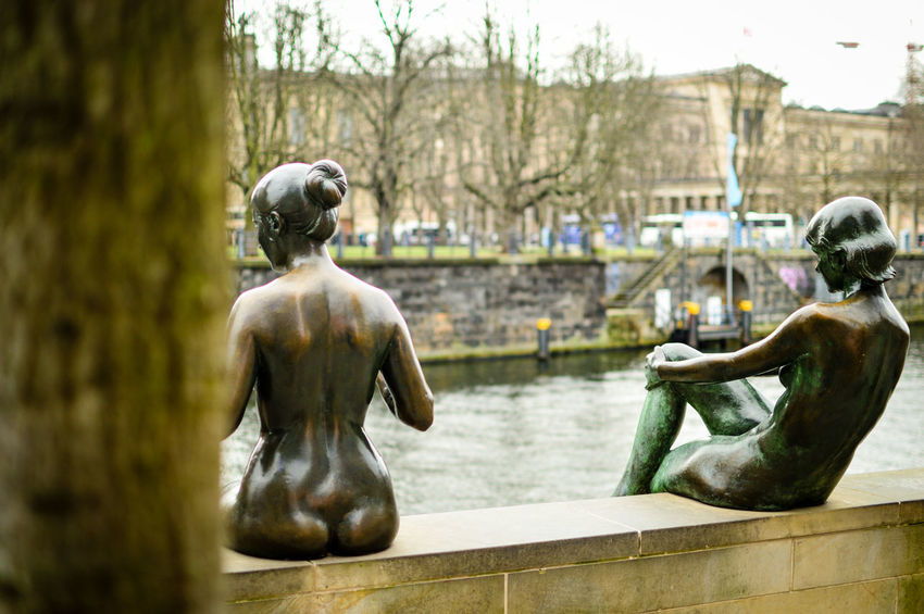 Two ladies enjoying the view 2/2 ;-) Berlin Photography Tourist Attraction  Architecture Building Exterior Day Human Representation No People Outdoors River Spree Sculpture Statue Travel Destinations Tree Woman Sculptures