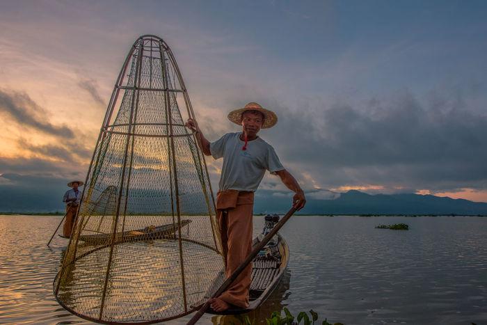 Burma Burma People Burmese Fisherman Inle Lake, Shan State, Myanmar Traditional Culture Inle Lake Shan State Boat