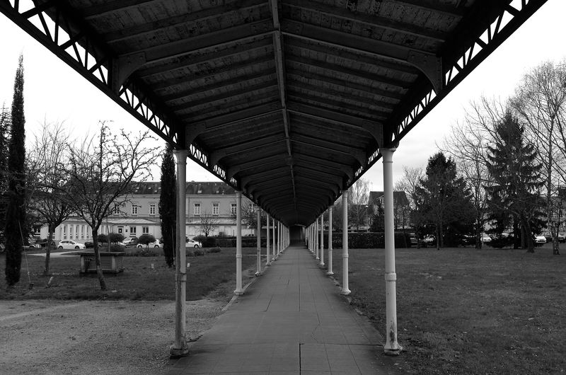 Empty footpath leading towards building