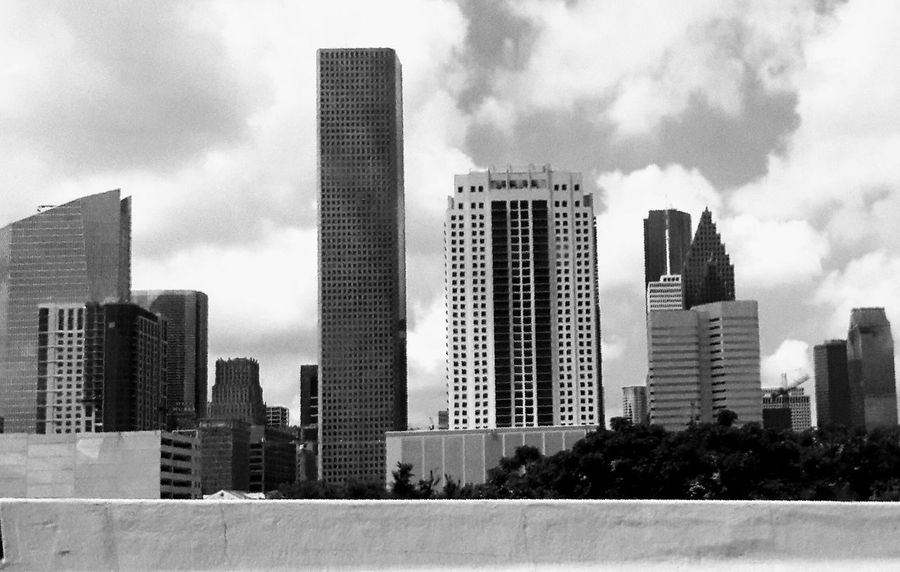 Downtown Houston shot today. Skyscraper Urban Skyline Architecture City Building Exterior Cityscape Modern Outdoors Downtown District Sky Cloud - Sky Day No People Popular Photos Photography Photos On The Street Black And White Photography