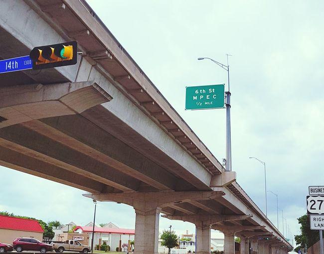 Overpass Hwy Highway Overpass Streetsign Commercial Buildings Cars Streetlight
