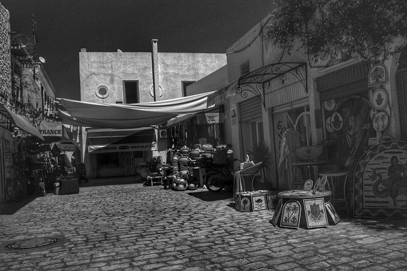 Outdoors Day Tunisia Souk Shops Black And White City Architecture Building Exterior Built Structure Sky