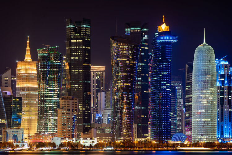 Doha, Qatar Building Exterior Architecture Built Structure Night Building City Office Building Exterior Skyscraper Illuminated Tall - High Tower Modern Sky No People Office Downtown District Cityscape Landscape Residential District Financial District  Outdoors Spire  Doha Qatar Middle East Travel