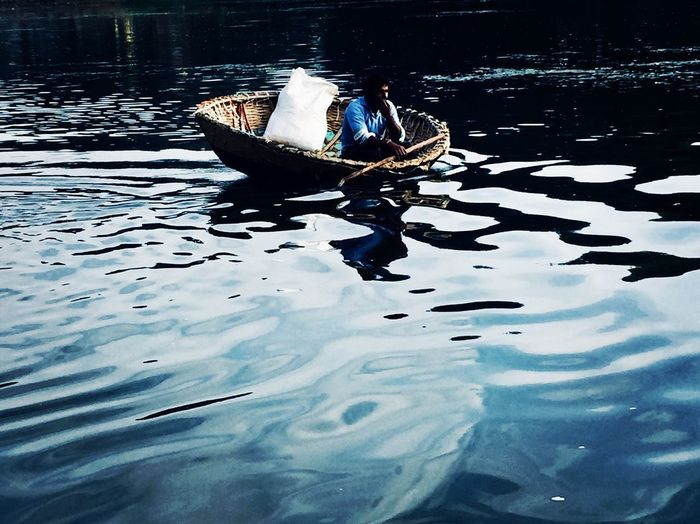Means Of Transport Landscape_photography Nature Photography Landscape Beauty In Nature Nature Nature_collection Boat Laminar Flow Blue Floating On Water Lifestyles Living Travel Transportation Water Reflection Real People Waterfront Lake One Person Nautical Vessel Day Full Length Swimming Men Outdoors Nature People