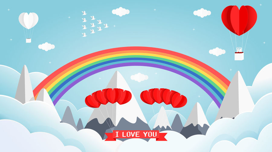 sweet valentines card of heart shape white and red balloon on the sky with beautiful rainbows. Multi Colored Balloon Hot Air Balloon Nature Low Angle View Sky Flying Mid-air Day Heart Shape Emotion Positive Emotion Air Vehicle Decoration Sunlight Pattern Outdoors Traditional Festival Lighting Equipment Festival Ballooning Festival Love Valentine's Day  Rainbow Cloud - Sky