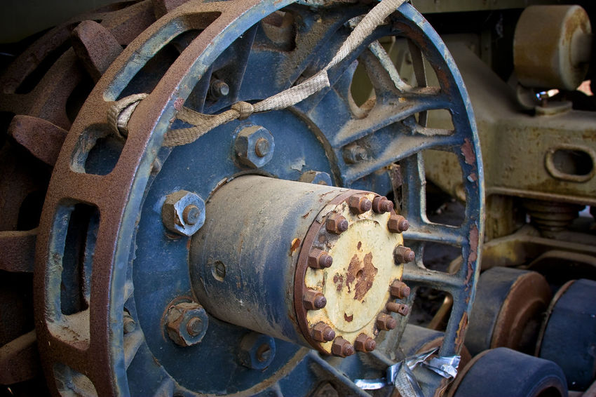Half-track gear Closeup Rust Mechanized