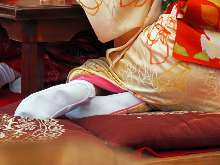 Low section of woman wearing traditional kimono
