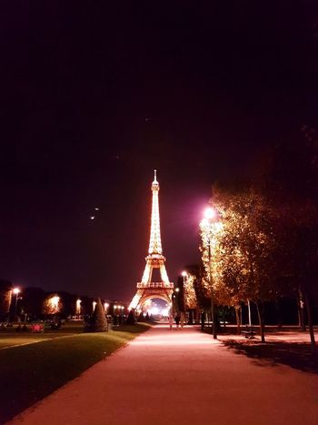 Park Paris At Night Eiffle Tower Night Illuminated Travel Destinations Tourism Outdoors City Long Exposure