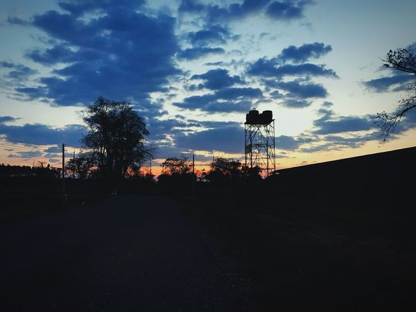 Silhouette Sky Nature Sunset Landscape Cloud - Sky Outdoors Water Tower - Storage Tank Tree Scenics Day