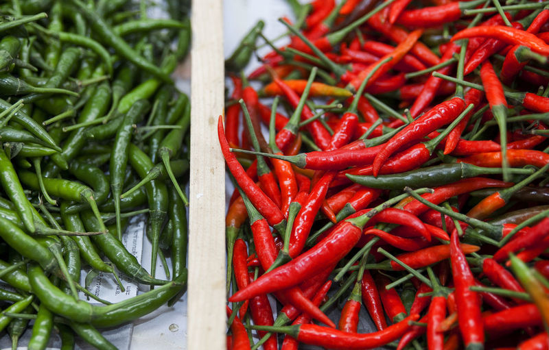 Thai food spicy Chili  Chili Pepper Close-up Day Food Food And Drink For Sale Freshness Green Color Healthy Eating Large Group Of Objects Market No People Red Red Chili Pepper Retail  Spice
