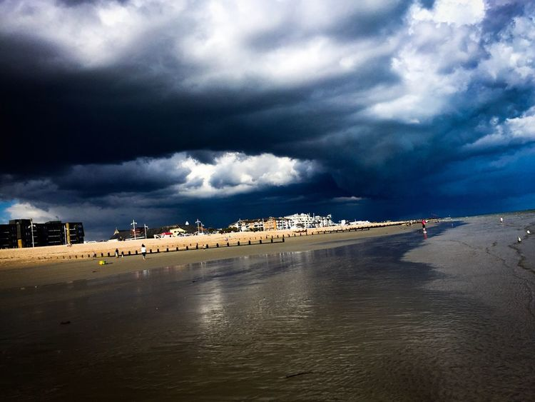 Dramatic Sky Scenics Cloud - Sky Sky Dark Photography Darkcloud Storm Stormy Weather Storm Approaching Sea Beach Sand IPhoneography Beachphotography Iphone6 Bognor Regis Westsussex