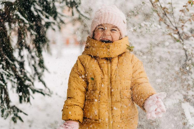 Portrait of man in snow