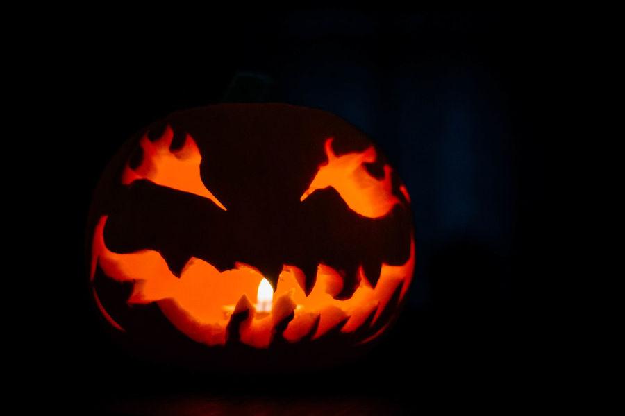 Candlelight Close-up Halloween Night Orange Pumpkin Pumpkin Carving Pumpkin Head Pumpkins Samhain Scarey