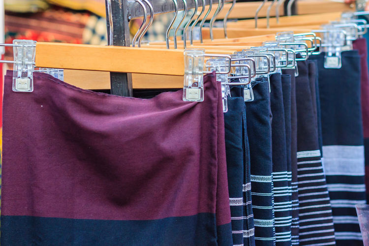 Close-up of clothes for sale at store