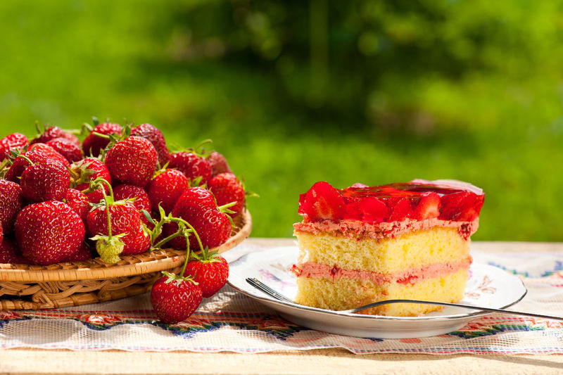 Yellow jaffa cake with strawberries and gelatin lying on plate on wooden board in garden, horizontal orientation, nobody in frame, objects in open air, sunny day. Baked Biscuit Cake Custard Dessert Food Fork Fruit Fruits Gelatin Jaffa Jallo Jelly No People Piece Portion Red Strawberries Strawberry Sweets Tidbits Tidbits Of Fruits