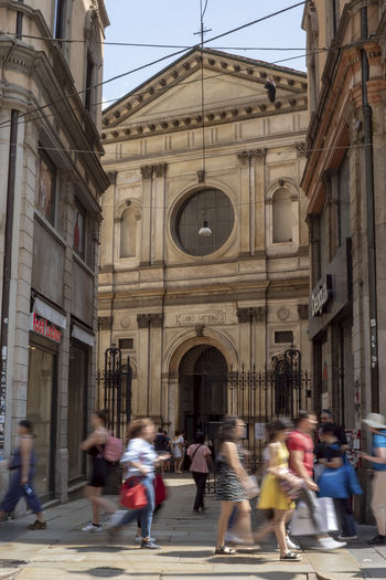 San Satiro Church Arch Architecture Blurred Motion Building Building Exterior Built Structure City Day Group Of People Large Group Of People Lifestyles Men Motion on the move Outdoors Real People Street Transportation Walking Women Summer In The City