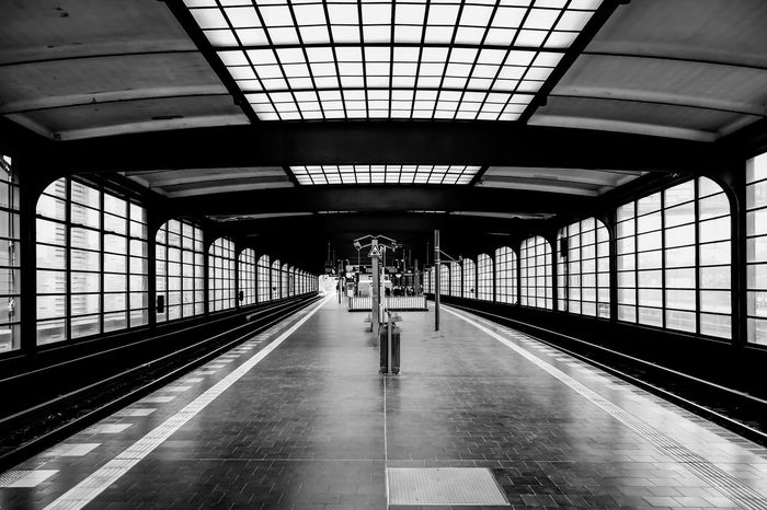 Architecture Berlin Photography Berliner Ansichten Black & White Black And White Built Structure Ceiling EyeEm Best Edits EyeEm Gallery Full Length Illuminated Lifestyles Public Transportation Rail Transportation Railroad Station Railroad Station Platform S-bahnhof Subway Station Transportation Transportation Building - Type Of Building Travel Welcome To Black Krull&Krull Images