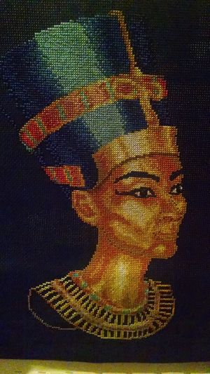 cross stitch Queen Egypt Egyptian Queen Nefertiti Gold Blue Cross Stitch Black Background