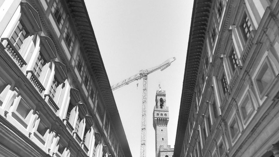 Architecture Black & White Black And White Built Structure Capital Cities  City City Life Crane Crane - Construction Machinery Day Firenze Florence Florence Italy Italy Low Angle View No People Old Town Outdoors Restoration Tall Toscana Toscana ıtaly Toskana Toskana,italy Travel Destinations