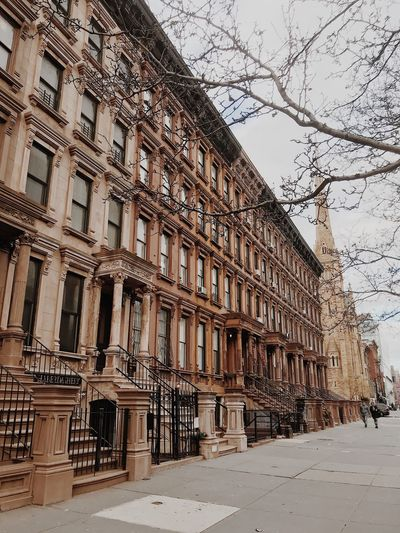 NYC Harlem  Brownstone Building Exterior Architecture Built Structure Building Sky Window Day City History Plant Outdoors Tree Travel Destinations Nature No People Low Angle View Residential District The Past Clear Sky Ornate