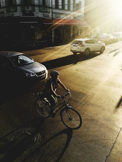 Street Car Sunlight Road Outdoors Bicycle Architecture Built Structure Day City One Person Germany Berlin Modern Like Cool Streetphotography Sunset Location Gold Golden Hour EyeEmNewHere