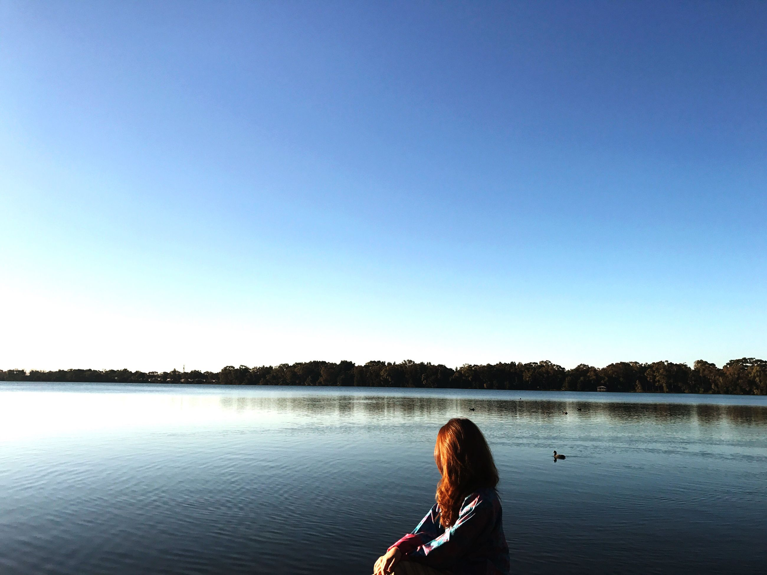 real people, rear view, copy space, lake, leisure activity, one person, beauty in nature, nature, women, clear sky, lifestyles, tranquil scene, scenics, water, day, blue, young women, tree, outdoors, standing, young adult, sky, adult, people