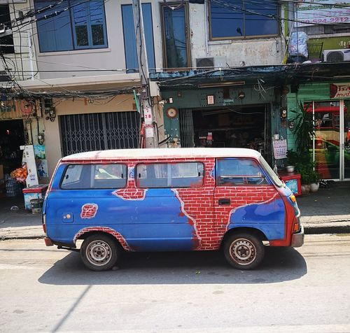 Transportation Stationary Outdoors No People Day Car Van Car Paint Car Art