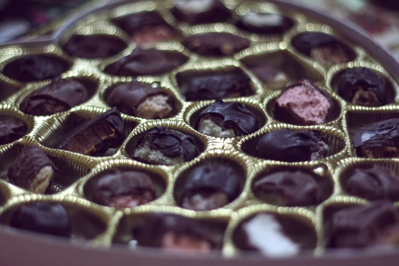 Close-up of half eaten chocolates